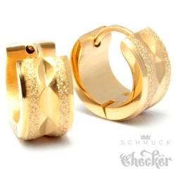 Edelstahl Herren Ohrringe Klapp-Creolen gold diamantiert funkelnd glizernd 13mm Ø