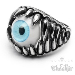 Hochwertig Edelstahl Ring silber massiv Zähne Horror blaues Auge hingucker Biker