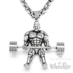 Edelstahl Herren Anhänger Hantel Gewicht Kraftsport Bodybuilder Gewichtheber + Königskette
