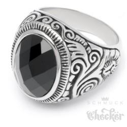 Großer Edelstahl Herren Ring Onyx Stein oval verziert muster silber schwarz