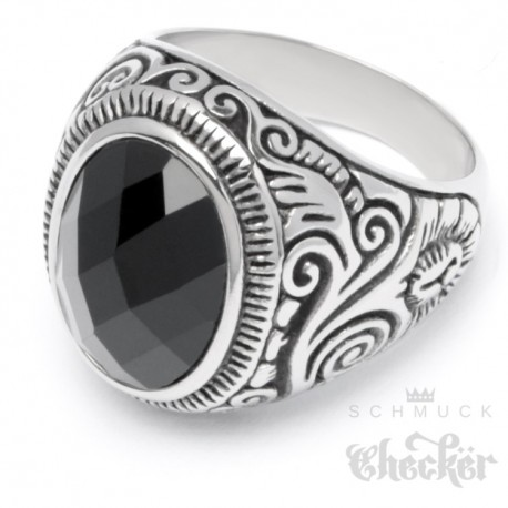 Großer Edelstahl Herren Ring Onyx Stein oval verziert muster silber schwarz 88a494cf72