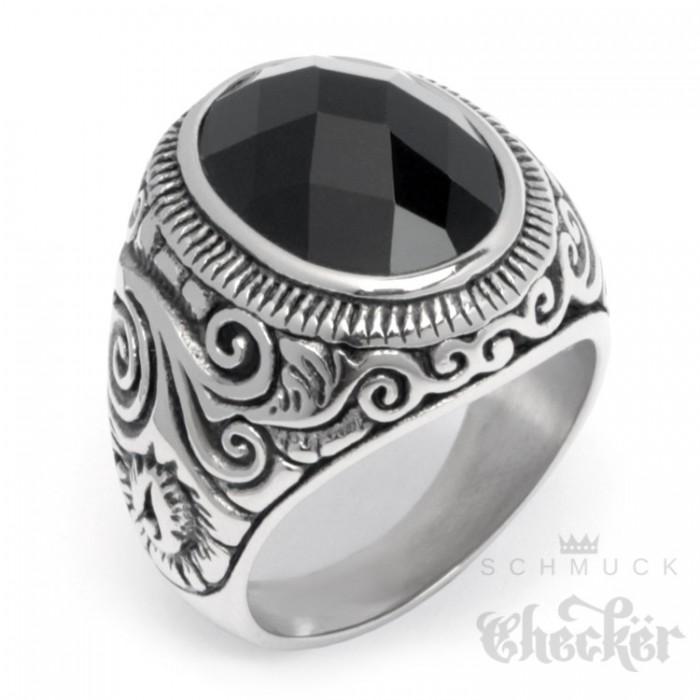 Großer Edelstahl Herren Ring Onyx Stein oval verziert muster