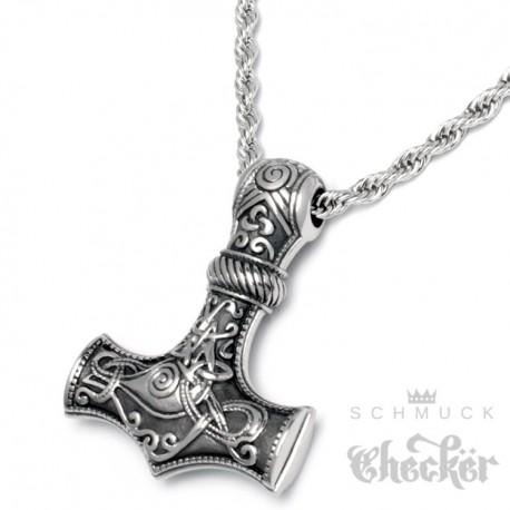 Edelstahl Anhänger Hammer Mjölnir Gott Thor silber massiv hochwertig + 55cm Kordelkette