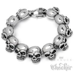 Totenkopf Armband Edelstahl groß silber Männer Harley Skull Bikerschmuck 21,5cm