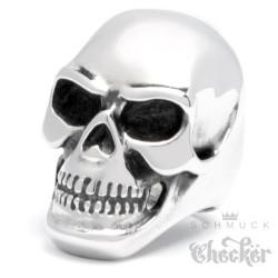 Massiver XXL Edelstahl Ring groß silber Skull Totenkopf Schädel Bikerring Rocker