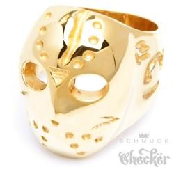 Goldener Jason Edelstahl Ring Eishockey Maske Firday 13 Herren Schmuck vergoldet