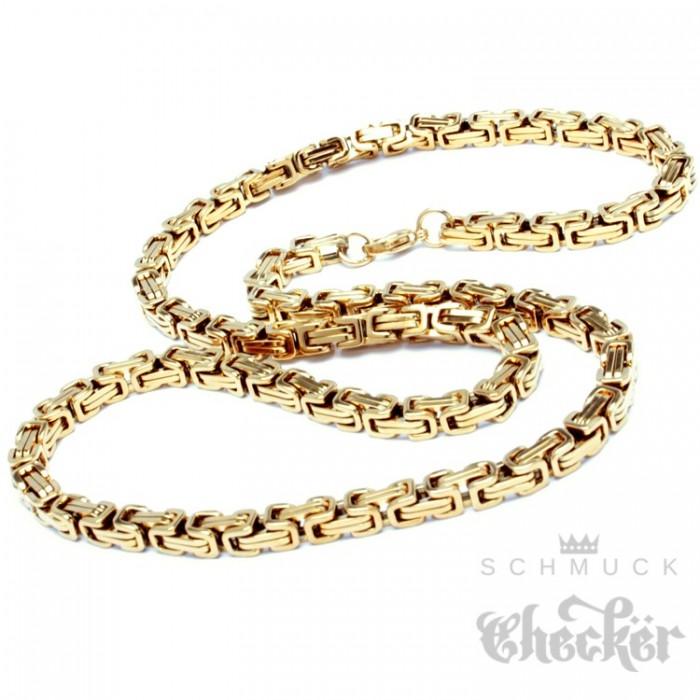 Edelstahl Königskette gold Männer Halskette hochwertig 60cm