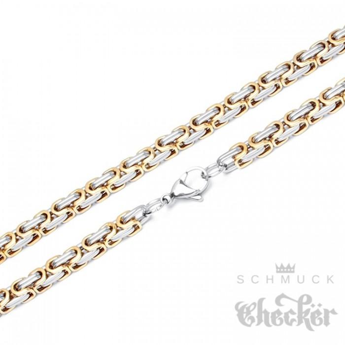 Edelstahl Königskette silber gold Männer Halskette