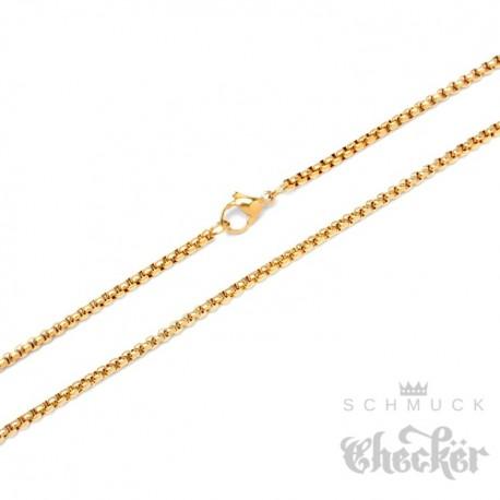 Edelstahl Halskette Herren Damen Kette feine Ankerkette Erbsenkette hochwertig gold
