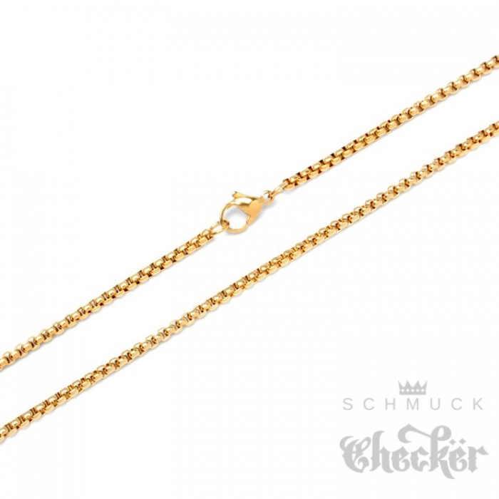 edelstahl halskette feine ankerkette hochwertig gold erbsenkette herren damen kette schmuck. Black Bedroom Furniture Sets. Home Design Ideas