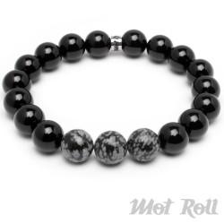 Mot Roll Bead Perlen Armband Herren Männer schwarz Achat Jaspis Onyx Menbeads