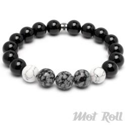 Mot Roll Bead Perlen Armband Herren Männer schwarz weiß Achat Onyx Menbeads
