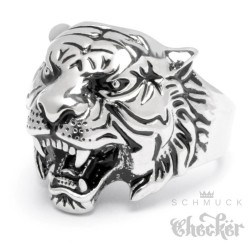 Tiger Ring Edelstahl silber hochwertig detailliert Herren Männer Schmuck kaufen