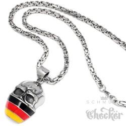 Hooligan Anhänger Schädel Deutschland Flagge Ultra Fan Königskette Halskette Edelstahl
