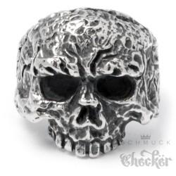Alter Totenkopf Ring aus Edelstahl Bikerring Piraten Schädel verrottet Skull