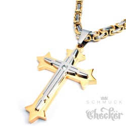 Herren Edelstahl Halskette Kreuz Anhänger silber mit Zirkon + 60cm Königskette