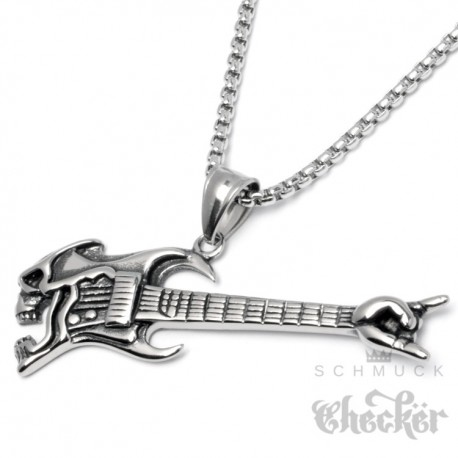 Rock Gitarre mit Totenkopf als Edelstahl Anhänger mit Halskette Skull Rockerschmuck