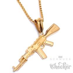 Goldene Kalaschnikow AK-47 Anhänger aus Edelstahl mit Halskette Maschinengewehr Schmuck