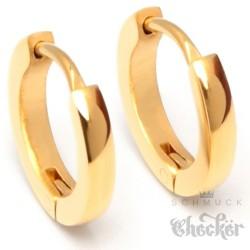 Schmale Edelstahl Ohrringe goldene Klapp-Creolen dünn gold poliert 13mm Ø