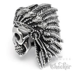 Edelstahl Ring Totenkopf mit Federschmuck Indianer Männer Geschenk Silber Bikerring