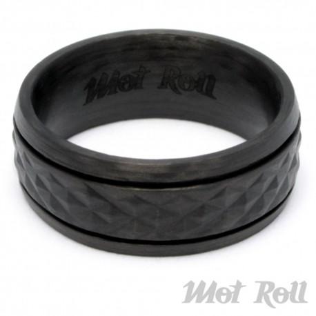 Mot Roll Schwarzer Carbon Ring mit Reifenprofil Reifen Bikerring Männergeschenk