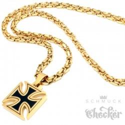 Eisernes Kreuz Anhänger aus Edelstahl schwarz gold massiv + 60cm Königskette Biker