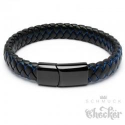Lederarmband für Herren schwarz blau geflochten Edelstahlverschluss hochwertig