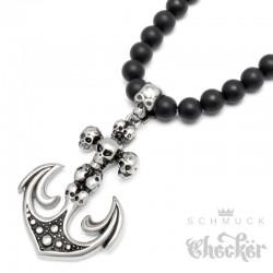 Onyx Perlen Halskette Anker Anhänger Totenköpfe Edelstahl schwarz matt Achat Beads