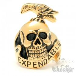 Goldener Expendables Ring mit Totenkopf Rabe aus Edelstahl Actionheld Bikering