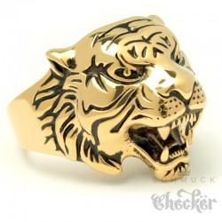 Tiger Ring aus Edelstahl vergoldet hochwertig detailliert Herren Männer Geschenk