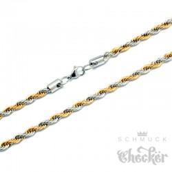 Edelstahl Kordelkette silber & gold Halskette für Damen und Herren Schmuck hochwertig