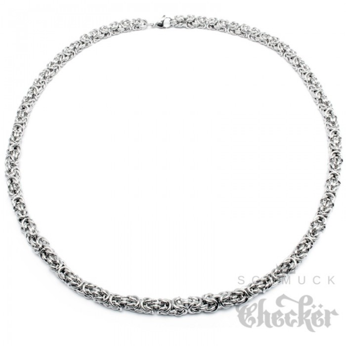 Edelstahl Damen Herren Byzantiner Halskette Königskette 1000 Ringe Silber Kette