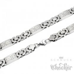 Edelstahl Kette XL Königskette mit Kreuz Byzantiner Halskette breit silber Biker Hiphop