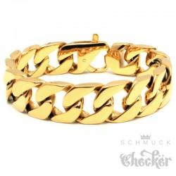 Vergoldetes Panzerarmband aus Edelstahl Männerarmband gold breit schwer Bikerschmuck
