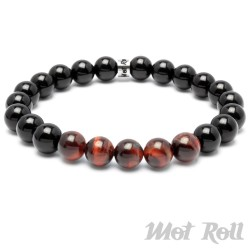 Mot Roll Perlen Armband schwarz rot rotes Tigerauge Edelstein Herren Menbeads