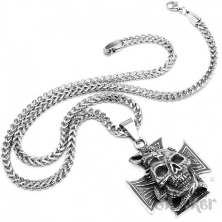 Totenkopf umschlungen von Drache auf Eisernem Kreuz Edelstahl Anhänger Königskette Bikerschmuck
