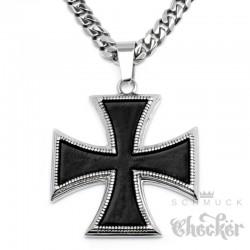 Eisernes Kreuz Anhänger aus Edelstahl silber schwarz Orden Panzerkette Halskette