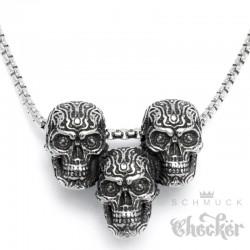 3 verzierte Totenköpfe aus Edelstahl mit Halskette silber klein hochwertig Bikerschmuck