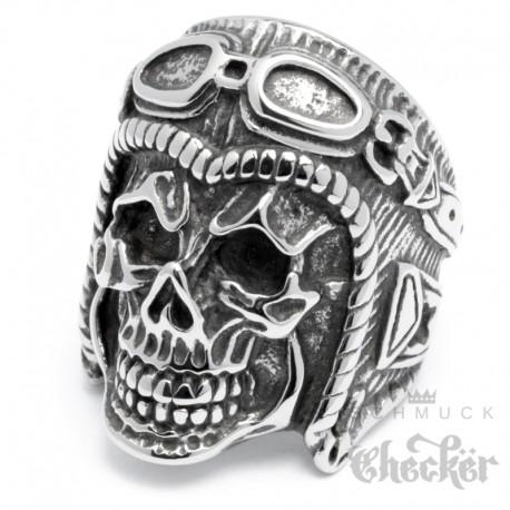 XL Totenkopf Ring mit Retro Motorradhelm aus Edelstahl großer Skull Bikerring
