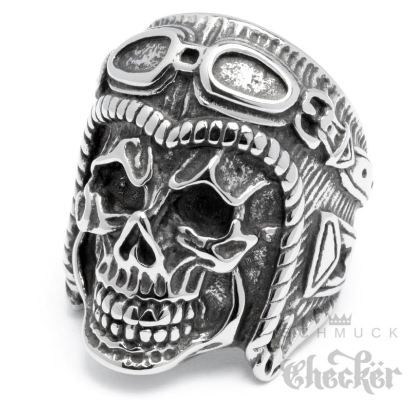 XL Totenkopf Ring mit Retro Motorradhelm aus Edelstahl