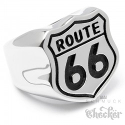 Massiver Route 66 Edelstahl Ring silber poliert America's Mother Road Bikerring