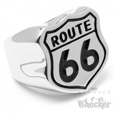 Massiver Route 66 Edelstahl Ring silber poliert America's Mother Road Bikerring