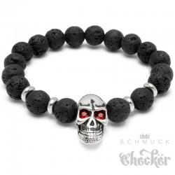 Schwarzes Lava Armband mit Totenkopf aus Edelstahl rote Zirkonia Skull Bikerschmuck