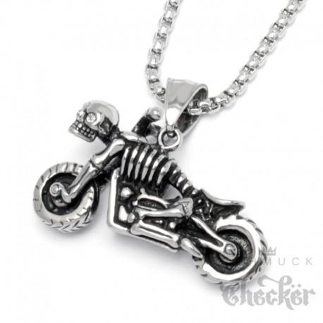 Kleiner Skelett Motorrad Anhänger aus Edelstahl Totenkopf Bike silber Skull mit Kette