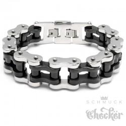 XXL Armband große Motorradkette mit Verlängerung massive Armkette aus Edelstahl silber schwarz