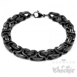 Schwarzes Königsarmband aus Edelstahl Herren Männer Byzantiner Armband Königskette