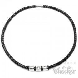 Schwarzes Lederband geflochten mit Edelstahlperlen silber 50cm Kunstleder Halskette