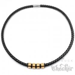 Schwarzes Lederband geflochten mit Edelstahlperlen vergoldet gold 50cm Kunstleder Kette