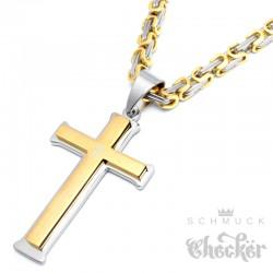 Kreuz aus Edelstahl mit Königskette in silber & gold Edelstahl Anhänger Halskette