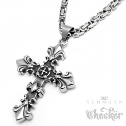 Lilien Kreuz Anhänger aus Edelstahl 316L silber Fleur de Lis Königskette Halskette